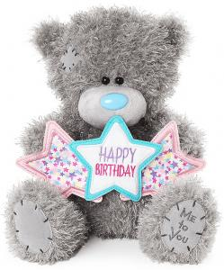 Bamse, Happy Birthday på stjerne banner, 25cm - Me To You