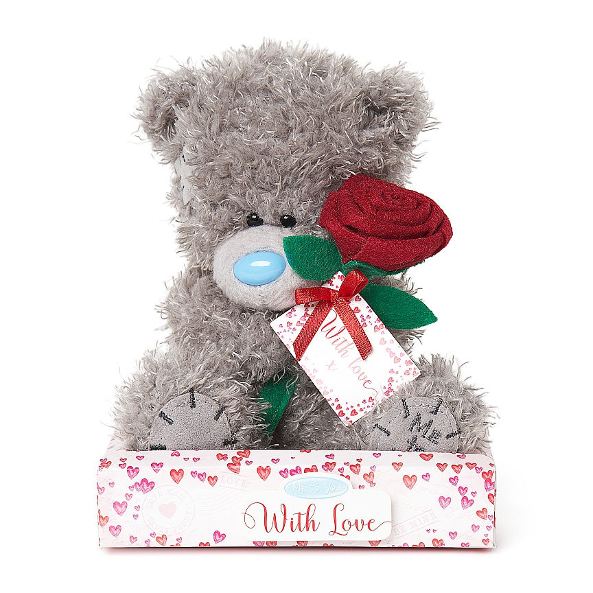 Bamse med rød rose, 15cm - Me To You