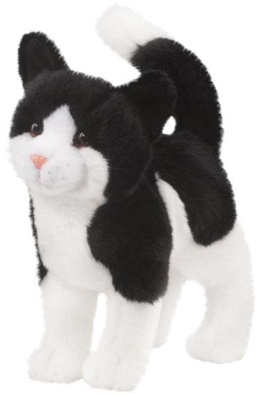 Kat, sort/hvid, 25cm - Douglas tøjdyr